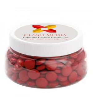 Large Plastic Jar with Chocolate Gems (Corporate Colour)