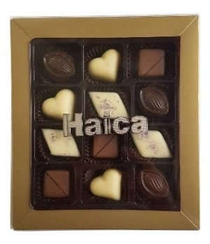 12Pc Chocolate Gift box with Gold/Silver plated Logo