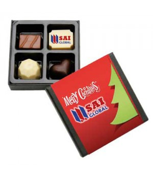 4pc Chocolate Gift Box with Premium Printed Belgian Chocolate & Flavoured Chocolates