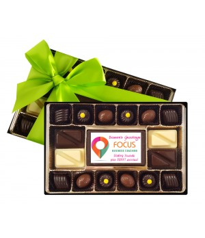 Premium Belgian Handmade chocolates with Custom Printed Premium Belgian chocolate centre piece
