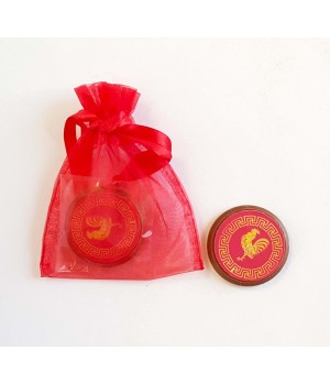 Chocolate coins in organza bag