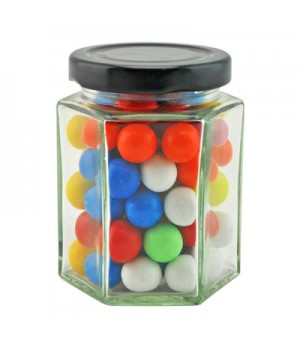Large Hexagon Jar with Mixed Chocolate Balls