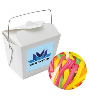 Paper Noodle Box with Gummy Snakes