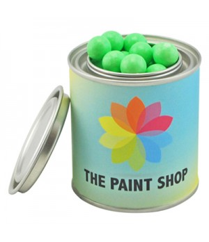 Small Paint Tin with Chocolate Balls (Green & White Peppermint Balls or Jaffa Look Alike)