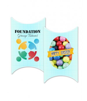 Custom printed window easter pillow box with your design and colour chocolate balls mix