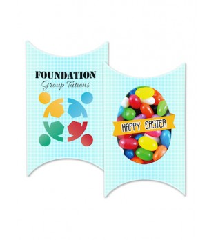 Custom Printed Window Easter Pillow box with your own design with Mixed Mini Jelly Beans