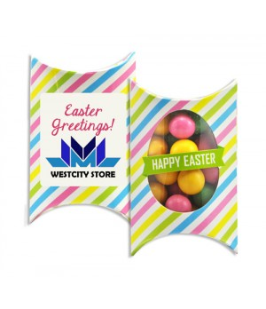 Printed Window Easter Pillow box with Colour Chocolate Balls Mix and Custom Printed Sticker