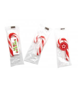 Mini Candy cane individually wrapped with sticker