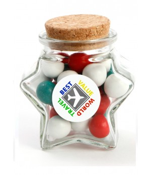 Star Jar with Sticker and Red,Green & White Chocolate balls