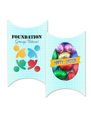Custom Printed Window Easter Pillow box with your design and 5 Mini Easter Eggs